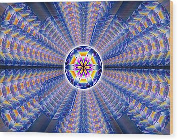 Wood Print featuring the drawing Blue Crystal Consciousness by Derek Gedney