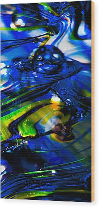Blue Crystal Wood Print by David Patterson