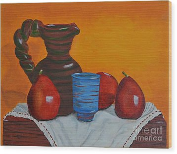 Wood Print featuring the painting Blue Cup by Melvin Turner