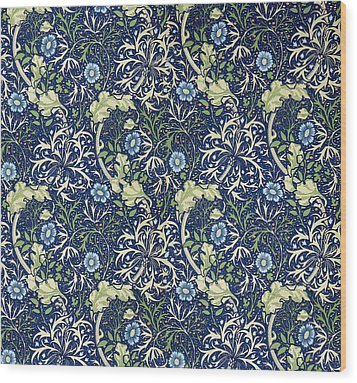 Blue Daisies Design Wood Print by William Morris