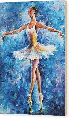 Blue Dance Wood Print by Leonid Afremov