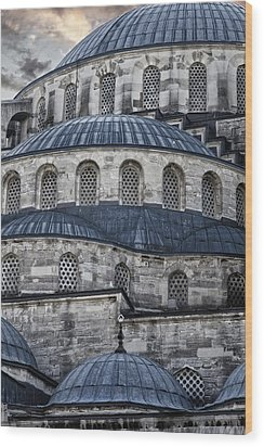 Blue Dawn Blue Mosque Wood Print by Joan Carroll