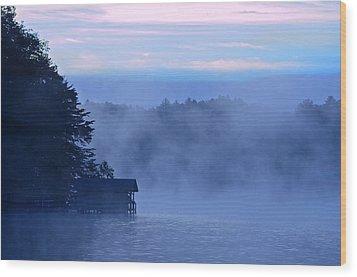 Blue Dawn Mist Wood Print by Susan Leggett