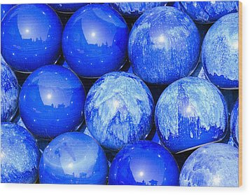 Blue Decorative Gems Wood Print by Tommytechno Sweden