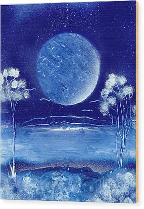 Blue Desert Night Wood Print by Marc Chambers