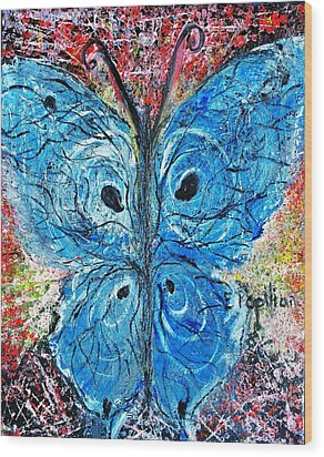 Blue Design Wood Print by Evelina Popilian