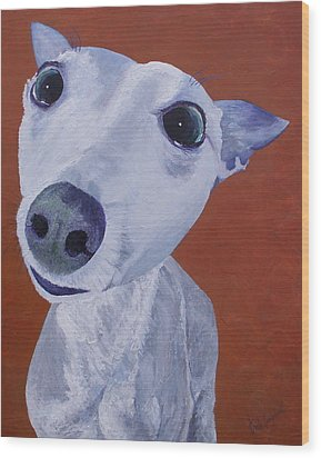 Blue Dog Wood Print by Trish Campbell