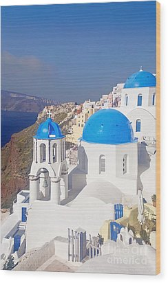 Blue Dome  Wood Print by Aiolos Greek Collections