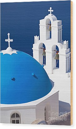 Blue Dome Church Wood Print by Aiolos Greek Collections