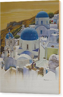 Blue Domes Of Santorini Greek Islands Wood Print