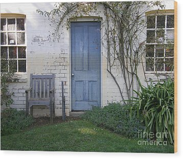 Blue Door Wood Print by Bev Conover
