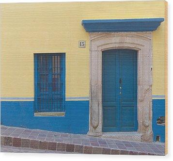 Blue Door Wood Print by Douglas J Fisher
