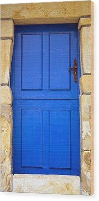 Blue Door Wood Print by Frank Tschakert