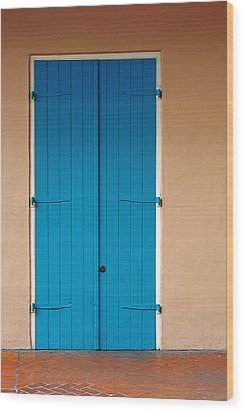 Blue Door In New Orleans Wood Print by Christine Till