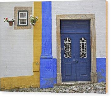 Blue Door Of Medieval Obidos Wood Print by David Letts
