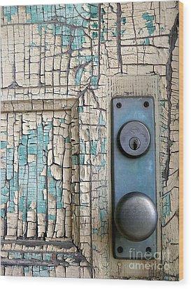 Blue Door Wood Print by Robert Riordan