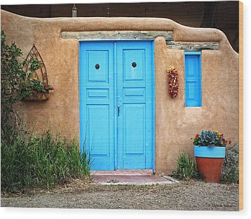 Blue Doors Of Taos Wood Print by Lucinda Walter