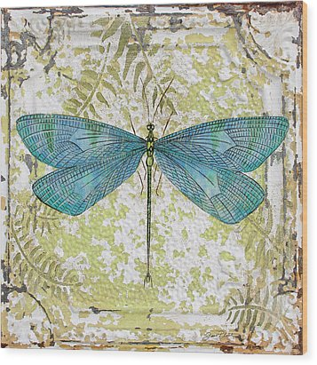 Blue Dragonfly On Vintage Tin Wood Print by Jean Plout