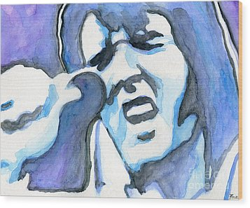 Blue Elvis Wood Print