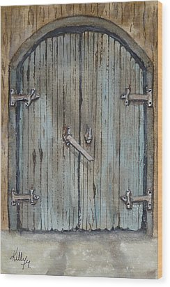 Wood Print featuring the painting Blue Entrance Door Has Stories by Kelly Mills