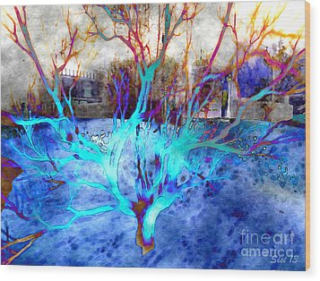 Blue Explosion Wood Print by Susanne Baumann