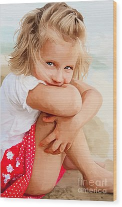 Wood Print featuring the painting Blue Eyed Girl by Tim Gilliland