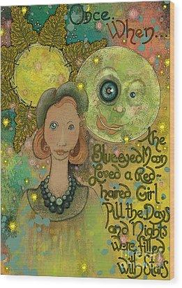 Blue-eyed Moon Wood Print by Carol Jacobs