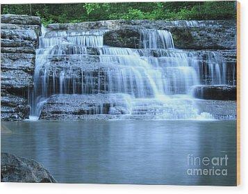 Blue Falls Wood Print