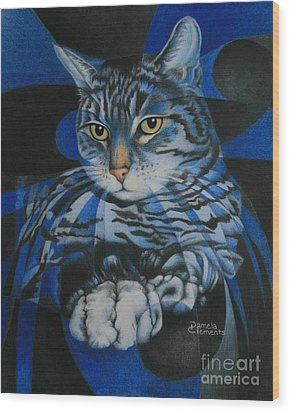 Blue Feline Geometry Wood Print by Pamela Clements
