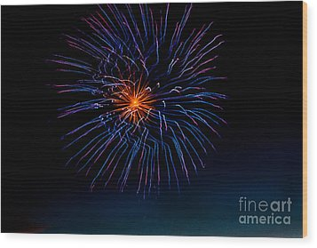 Blue Firework Flower Wood Print by Robert Bales