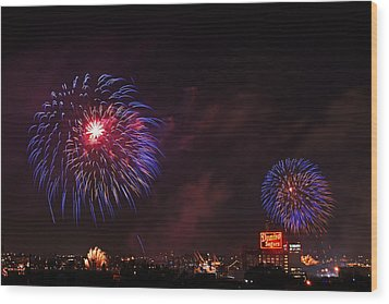 Blue Fireworks Over Domino Sugar Wood Print by Bill Swartwout