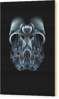 Blue Flame Skull Wood Print by Owlspook