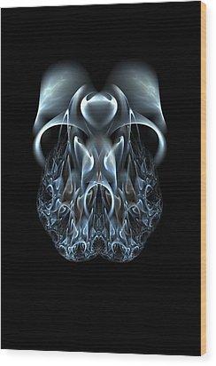 Blue Flame Skull Wood Print