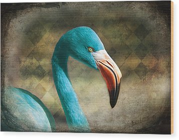 Blue Flamingo Wood Print by Barbara Orenya