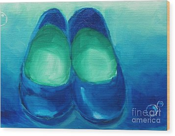 Wood Print featuring the painting Blue Flats by Marisela Mungia