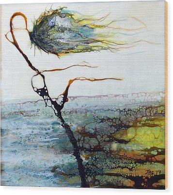 Blue Flower By Stream Wood Print