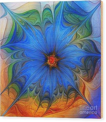 Blue Flower Dressed For Summer Wood Print