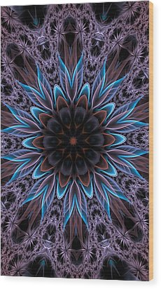 Wood Print featuring the digital art Blue Flower by Lilia D