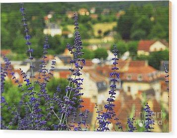 Blue Flowers And Rooftops In Sarlat Wood Print by Elena Elisseeva