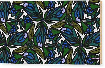 Wood Print featuring the digital art Blue Flowers by Elizabeth McTaggart