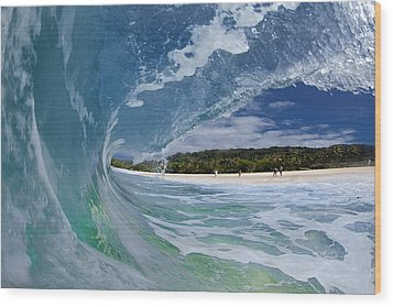 Blue Foam Wood Print by Sean Davey