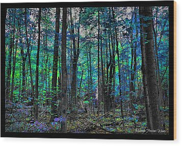 Wood Print featuring the photograph Blue Forrest by Michaela Preston