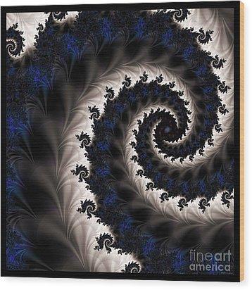 Blue Fractal Path Wood Print by Elizabeth McTaggart