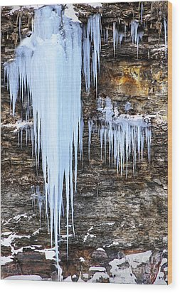 Blue Frozen Icicle Stalactites Wood Print