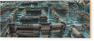 Blue Future City Wood Print by Bernard MICHEL