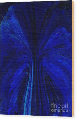 Blue Fuzz Wood Print by Patricia Kay