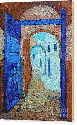 Blue Gate Wood Print by Ana Maria Edulescu