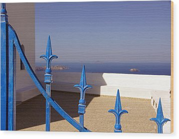 Blue Gate Wood Print