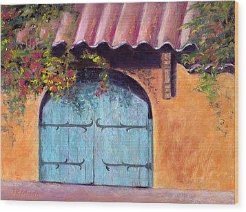 Blue Gate Wood Print by Julie Maas
