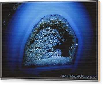 Blue Gem Stone Quartz Wood Print by Danielle  Parent